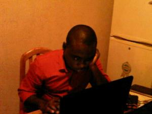 cheta hard at work on his blog