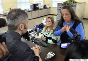 kim davis refusing to issue a marriage license to a gay couple.