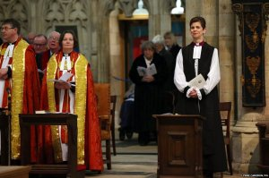 The Church of England has consecrated its first female bishop, the Reverend Libby Lane, during a ceremony at York Minster. Legislation to allow women bishops was formally adopted by the church last November.