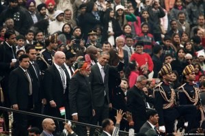 India's Prime Minister Narendra Modi is seen with US President Barack Obama after attending the Republic Day parade in Delhi.