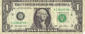paper money: dollar bill