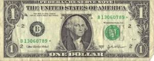 paper money: dollar bill