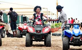 a girl on a quad bike
